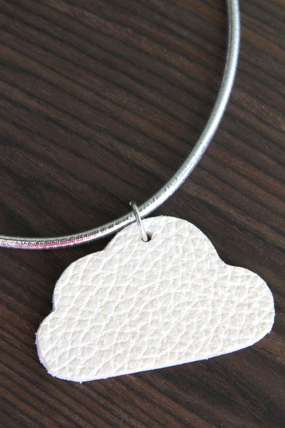 Girls necklace, leather cloud pendant by EchidnaArtandCards #makeforgood #cloud #pendant #jewellery #AusWandarrah
