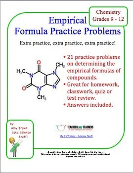 Printables Empirical Formula Worksheet high schools and homework on pinterest this is a 21 problem worksheet determining the empirical formulas of compounds mastering this