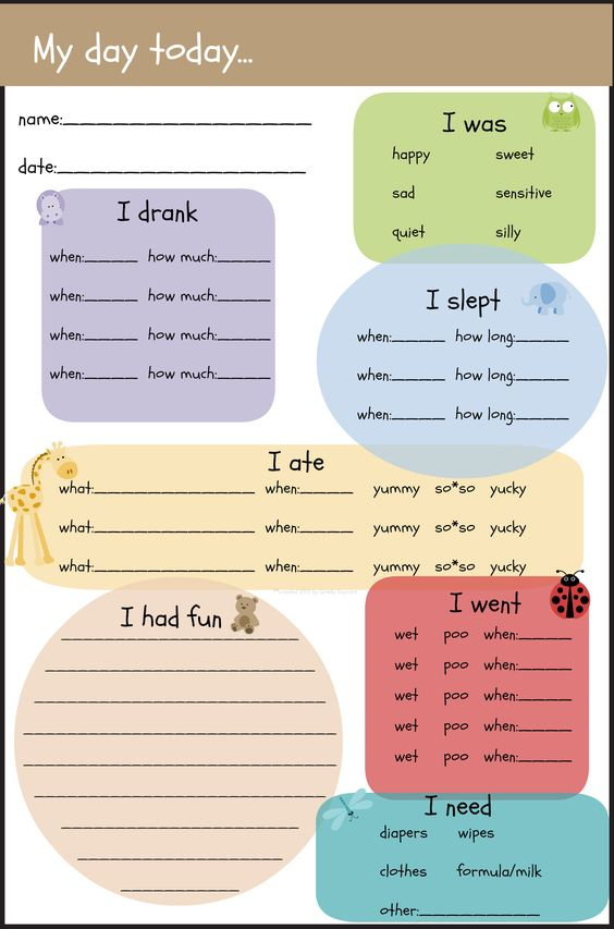 Infant Feeding Guidelines Pdf, Daycare themes and 50th - activity log template