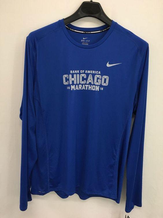 Men/'s Nike Dri-FIT Bank of America Chicago Marathon T-Shirt Black//White Size XL