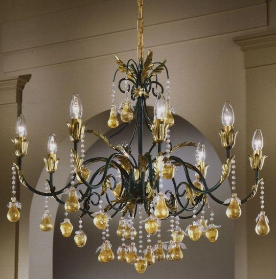 8 Light fruit chandelier with green and gold frame 175976 For – Fruit Chandelier