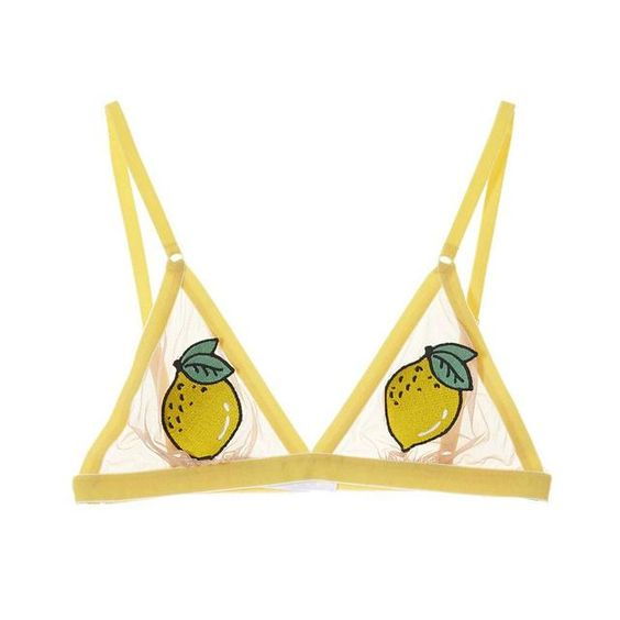 This non-wired bra with triangle cups is made from sheer tulle, with appliqué patch detail on the cups. The lemon patches hide your modesty, whilst simultaneously raising a smile!