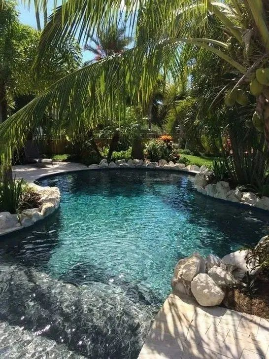 Striking Natural Swimming Pool Ideas You Have To Steal Decortrendy In 2020 Luxury Swimming Pools Pool Landscaping Swimming Pools Backyard