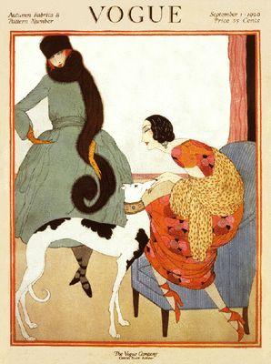 Art Deco Vogue 1920 cover women with greyhound