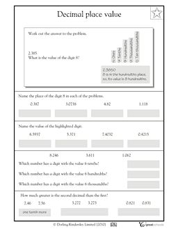 math worksheet : decimal place value to the ten thousandths  books worth reading  : Decimal Places Worksheet