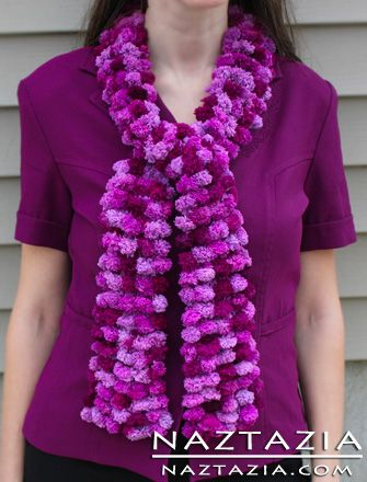 Free Crochet Patterns Using Pom Pom Yarn : Crocheted Pom Pom Yarn Scarf With Pompoms Crocheting ...