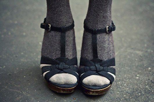 Gorgeous shoe/sock combo from Eleonore Bridge (blogged on Creature Comforts today)