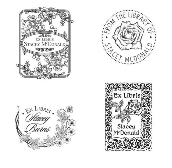 Four beautiful floral bookplate stamps