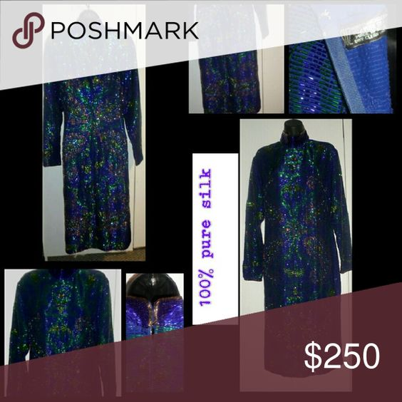 """Women bead dress blue silk long sleeve Full bead dress.  few beads missing... otherwise in excellent condition.  Medium to heavyweight Sleeve: 18"""" chest: 28 full length: 40"""" Dresses Long Sleeve"""