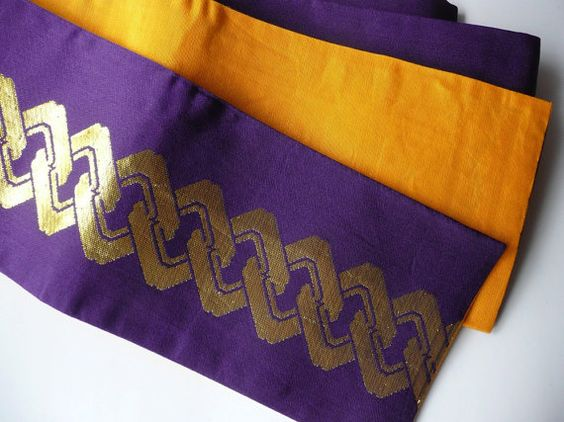Japanese vintage casual obi sash - unisex - gold on purple brocade - WhatsForPudding