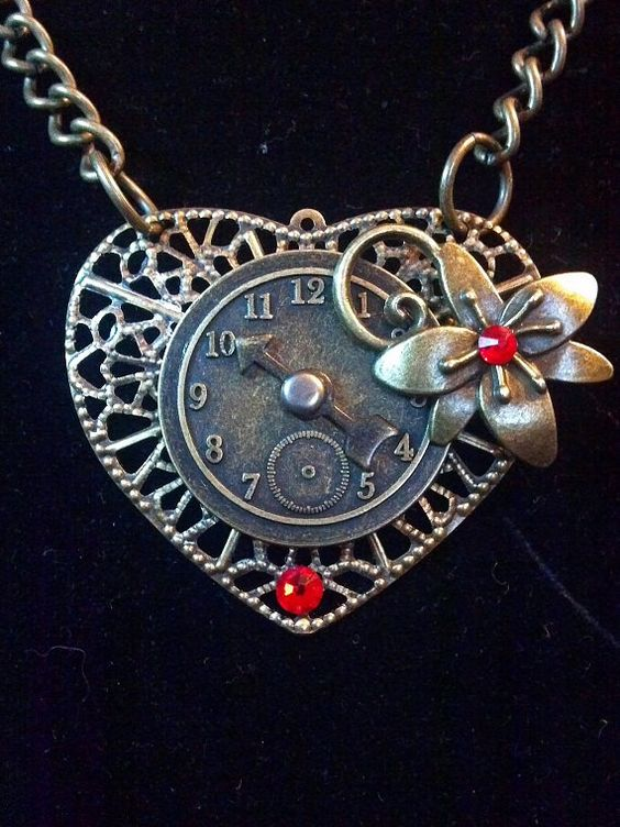 Steampunk Heart and Clock Necklace  Valentine's by KreationsByKimH, $16.00