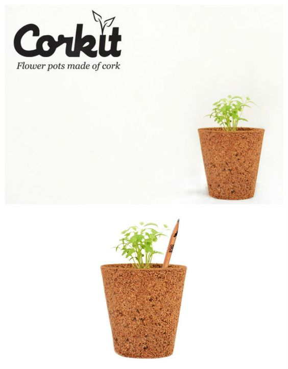 Recycled cork flower pots cork material corks and for Flower pot out of waste material