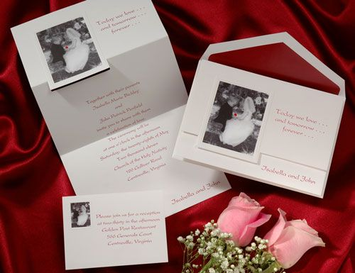 Sweet children are dressing up as a bride and groom on this playful bright white invitation. Your favorite quote and names are featured on front.