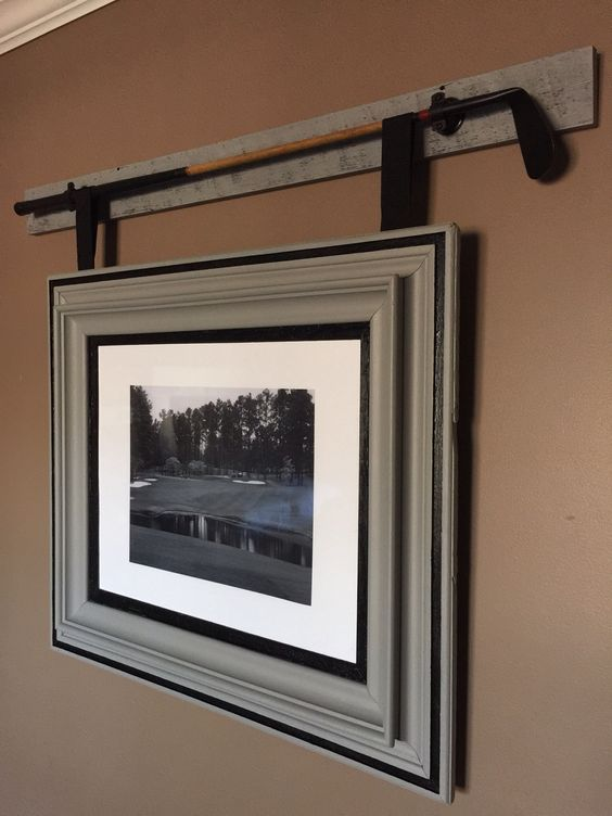 I found this vintage wood shaft golf club and knew I wanted to do something special with it. I started by refinishing the club and mounting it to a reclaimed piece of barn wood. I had a beautiful antique picture frame that I had previously restored and installed a black and white picture of Pinehurst #1. I was able to take multiple pieces of vintage and antique and blend them together to fit a modern home.   Like our page for more! http://www.facebook.com/pages/Macwood/1505906669694188