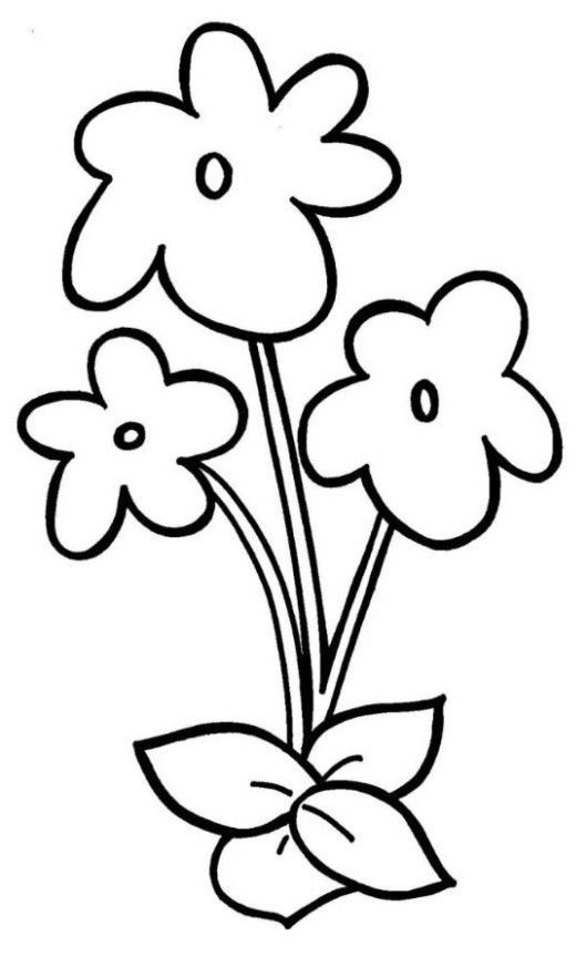 Easy Violet Flower Coloring Page For Preschool Crafts Pinterest Flower Coloring Pages Easy Flower Drawings Flower Drawing For Kids