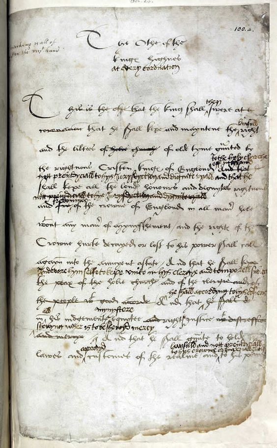 Coronation of Henry VIII with notes by Henry - On acceding to the throne, monarchs were crowned in a magnificent and elaborate ceremony in which the new king swore to defend the Church. Here the unmistakable hand of Henry has made several significant revisions to the oath.