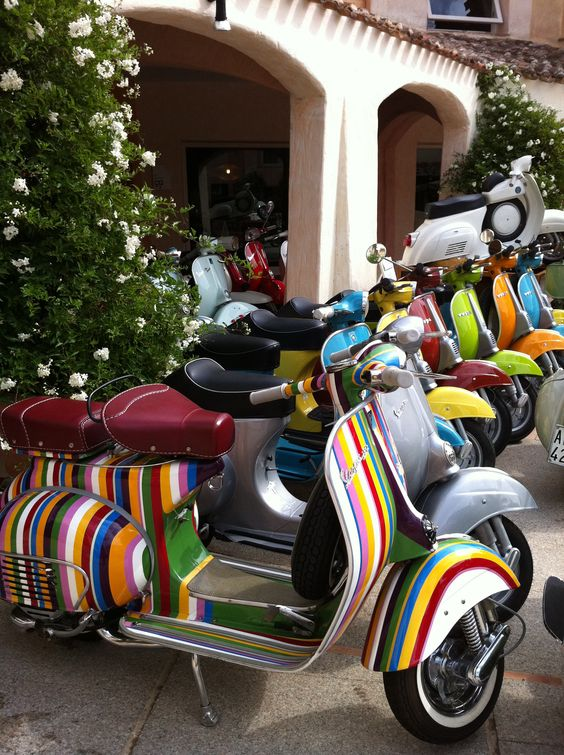 Porto Cervo, Sardegna. Iconic Vespa scooters parked in Costa Smeralda, Sardinia