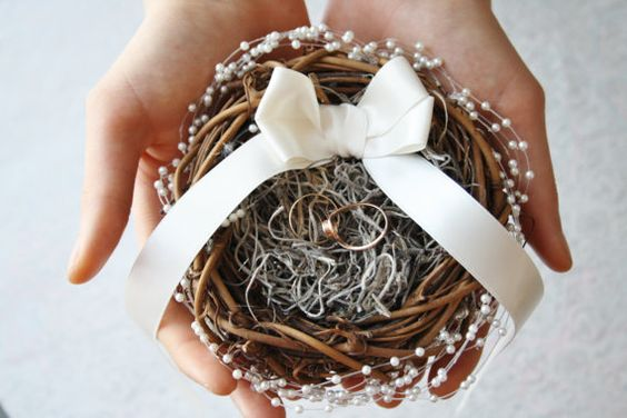 Ring bearer pillow Rustic nest ring pillow by WildRoseAndSparrow: