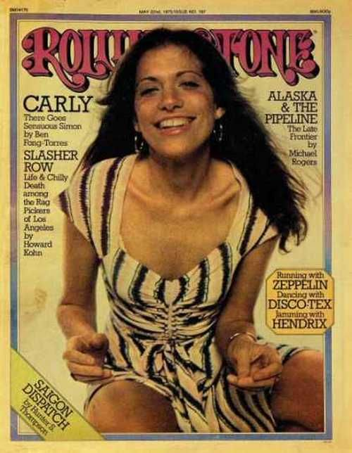 Carly Simon on the cover of Rolling Stone, May 1975.