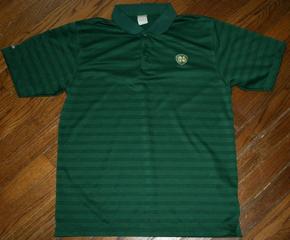 Mens Notre Dame Irish Green Adidas Climalite Polo Golf Shirt-Medium-casual/sport