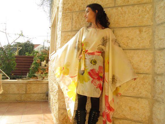 long sleeve flower chiffon tunic dress sunny airy by Youshky, $70.00