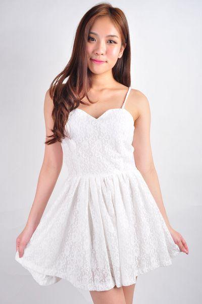 *RESTOCK* Gabrielle Dress - White | Earl Grey Party