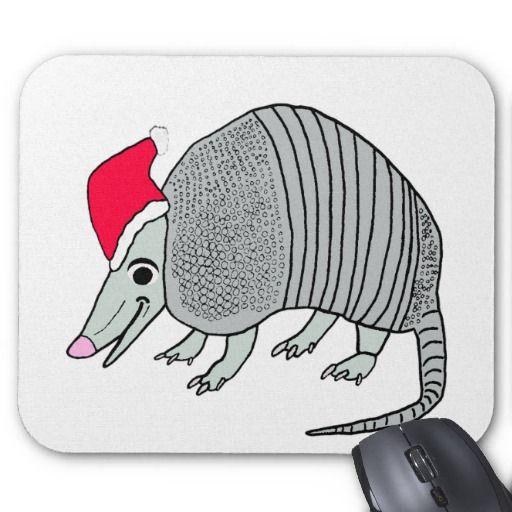 Cute Santa Armadillo Christmas Mouse Pad #santaarmadillo #armadillochristmas #texaschristmas