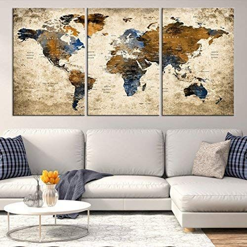 Sephia World Map Wall Art By My Great Canvas 3 Piece Multi Panel X Large Hanging Canvas Print For Home Decor Map Canvas Art World Map Art World Map Canvas