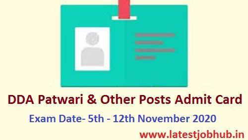 Dda Patwari Admit Card 2020 Cards Organisation Name Lettering