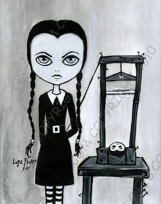 Wednesday Addams guillotine 8x10 art print by ArtByLupeFlores, $12.99
