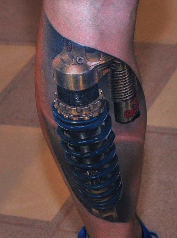 biomechanik tattoo wade stossdaempfer 3d effekt tattoos pinterest tatueringar. Black Bedroom Furniture Sets. Home Design Ideas