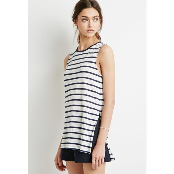 Forever 21 Women's  Striped Linen Tank ($6) ❤ liked on Polyvore featuring tops, white linen top, stripe tank, forever 21 tops, stripe top and forever 21 tank tops