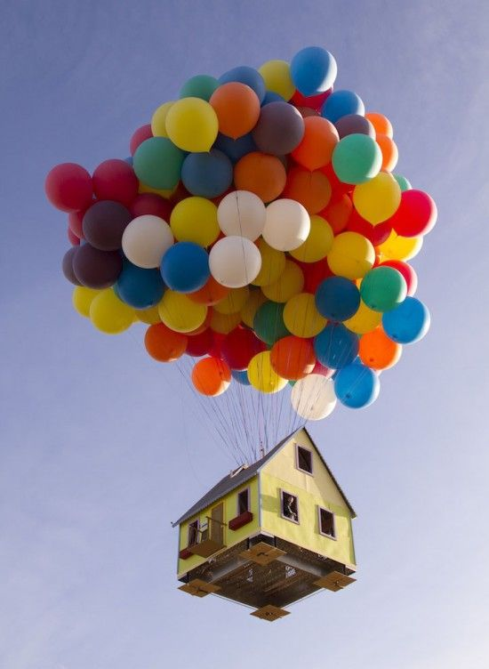 "Real life ""Up"" house! National Geographic used weater balloons to lift up this tiny house, like in ""Up"" (:"