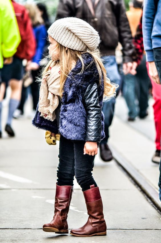 slouchy hat, faux fur and knee boots, she has it all!  #estella #kids #fashion