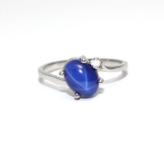 Cornflower Blue Star Sapphire Ring Solid Gold Star Sapphire Ring Gold Ring Blue Star Sapphire Ring Star Sapphire Ring Star Sapphire Jewelry