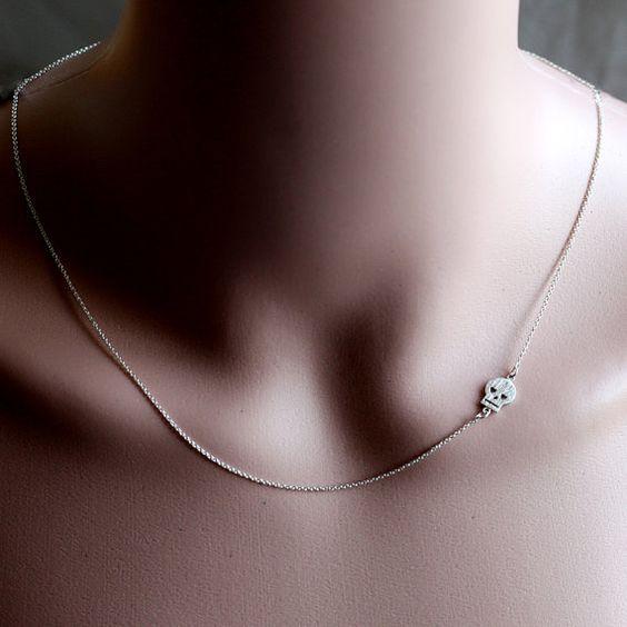Rhodium plated schedel ketting sieraden, mini zijwaarts doodshoofd charme…