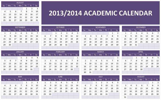 printable Fall 2013 - Spring 2014 calendar | 2013/2014 Academic Calendar Template | Free Microsoft Word Templates