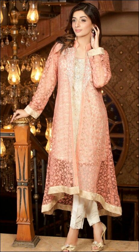 Stitching Styles Of Pakistani Dresses Peach Jacket Style shirt