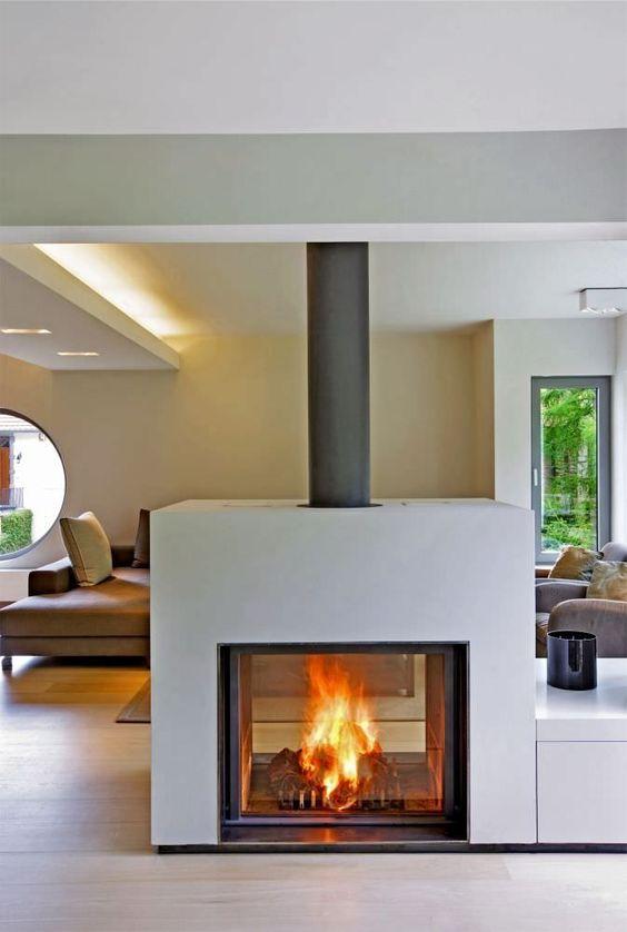 Open haarden haard and dubbelzijdige open haard on pinterest for Double sided open fireplace