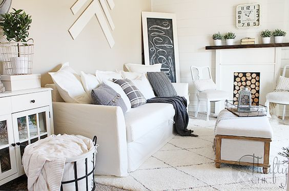 White Farmhouse Faux Fireplace And Decorating Ideas On