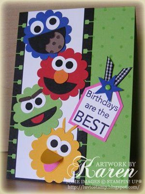 """Cool Sesame Street card by Karen Thomas, """"Luv To Stamp"""" Blogspot.  We've got Cookie Monster, Elmo, Groucho and Big Bird.  I wonder what Bert and Ernie are up to?!!!  A+A+A+A+A+A+"""
