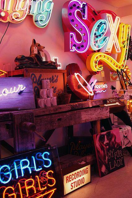 Seedy Strip Neon Lights at God's Own Junkyard, Soho, London