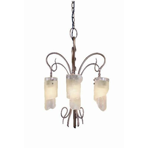 Eco-Luz: Soho Three-Light Chandelier with Brown Tint Ice Glass