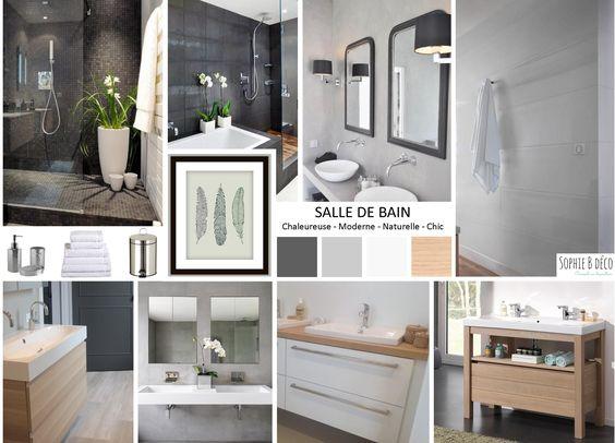 Planche tendance salle de bain en gris blanc et bois for Deco salle de bain gris et jaune