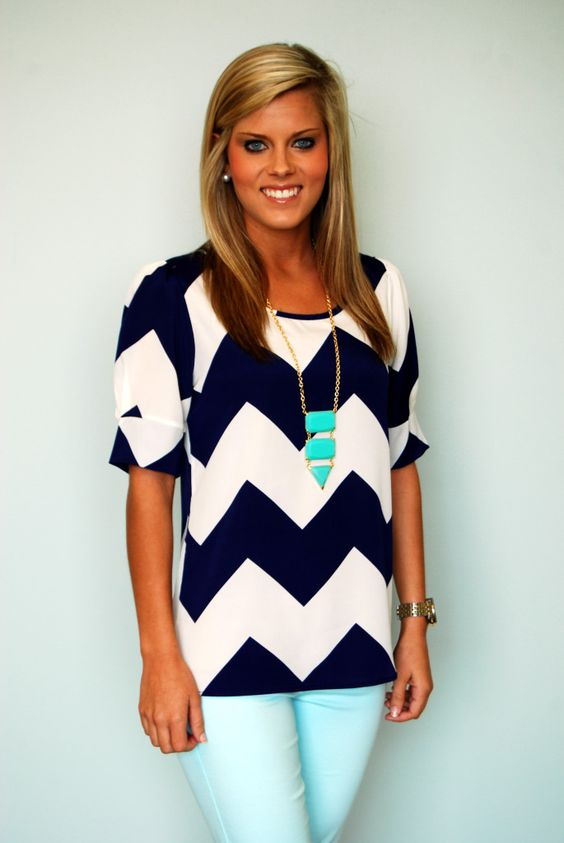 Love this bold chevron print paired with bright solids.
