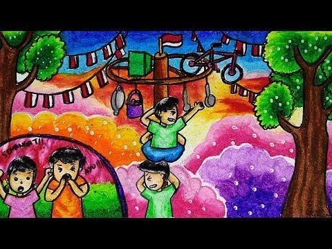 Cara Menggambar Dan Mewarnai Tema Lomba Panjat Pinang 17 Agustus Kemerdekaan Ri Youtube Cara Menggambar Sketsa Gambar