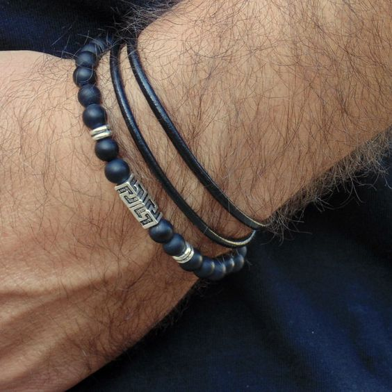 Black Leather Mens Bracelet Beaded Matte Onyx Greek Key Charm Bracelet stack…