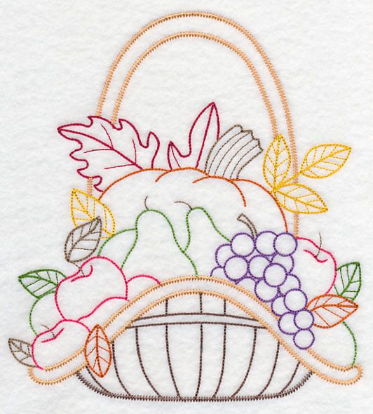 Autumn bounty basket vintage embroidery pattern