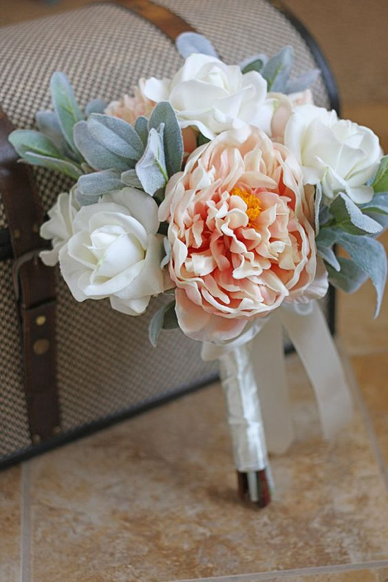 Blush peony and white rose real touch bouquet