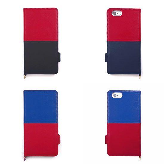 【 本革 + 日本製 】絵になるオトナの iPhoneケース | iPhone 6/6s & Plus 対応 | Genuine Leather Wallet Case for iPhone 6 / 6s and iPhone 6 / 6s Plus.  Vin x Noir and Azur x Vin